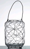 "SALE! ""Daniella"" Glass Candleholder with Wire - Tabletop or Hanging"