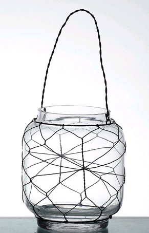 "CLEARANCE! ""Marissa"" Glass Candleholder with Wire - Tabletop or Hanging"