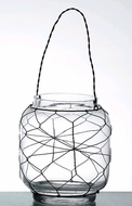"SALE! ""Marissa"" Glass Candleholder with Wire - Tabletop or Hanging"