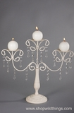 "CLEARANCE! White Trio Candle Holder W/ Crystals ""Jolie"""