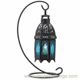 "Saphire Blue ""Tangier"" Candle Lantern on Stand"