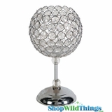 """Scarlett"" Sphere Goblet Crystal Beaded Candle Holder 12"""