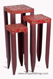 CLEARANCE - Set of 3 Metal Stands - Red Pattern