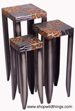 "Set of 3 Metal Stands - Zebra & Giraffe Pattern - ""Wild Ones"""