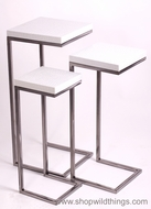 Set of 3 Nesting Tables - White Alligator & Brushed Silver Nickel