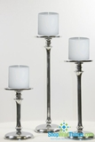 Set of 3 - Tall Silver Nickel-Plated Pillar Candle Holders