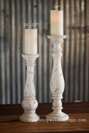 "Shabby Chic Pillar Candle Holder - Antiqued Cream - 4.5"" x 16.25"" Tall"