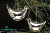 Shiny Silver Sweet Birdie Ornaments - Set of 5
