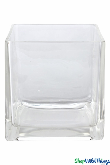Clear Glass Cube Vase Riser Candle Holder Shopwildthings Com