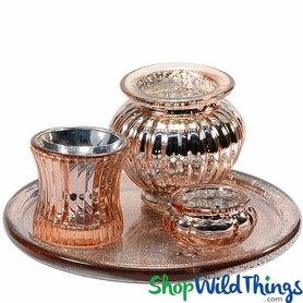 Mercury Glass Votive Tray Set, Copper, 4 Pieces