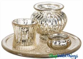 Coming Soon!  Mercury Glass Votive Tray Set, Light Gold, 4 Pieces