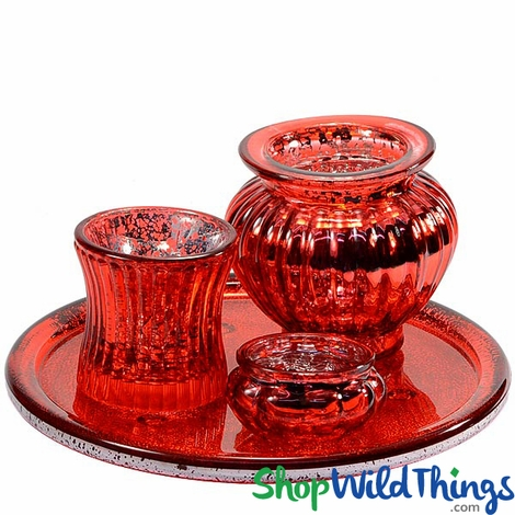 Mercury Glass Votive Tray Set, Red, 4 Pieces