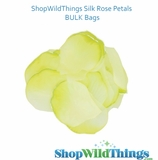 Silk Rose Petals - Apple Green & White  - Bag of 300 pcs