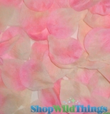Silk Rose Petals - Light Pink & Cream Two Toned- Bag of 400 pcs