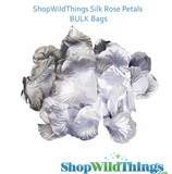 Silk Rose Petals - Metallic Silver - Bag of 300 pcs