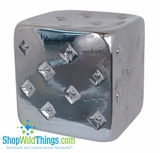 Silver Ceramic  Tufted  Cube Stool, End Table