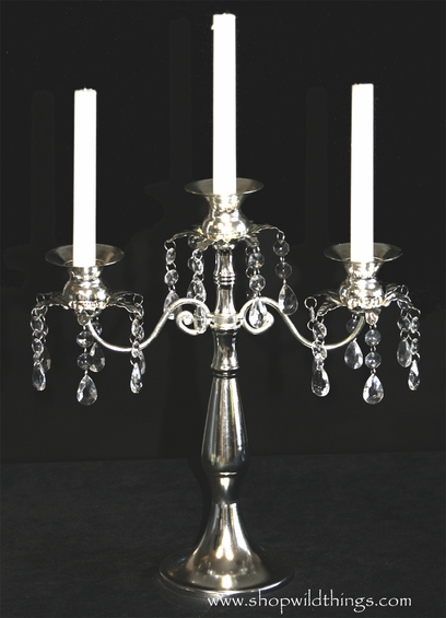 """Silver Iron Candelabra """"Dorothea"""" - Triple Tapers or Votives"""
