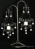 "Silver Metallic Hanging Candles on Stand - ""Lara"" - 2 Candles"