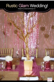 Soiree-Event Design Pink & Gold Party | Gold Manzanita Tree & Pink Diamonds