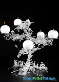 "Sparkling Beaded 5 Candle Plate Tree ""Petal"" - 15"" x 16"""