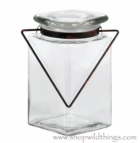 """Clearance! Square Jar with Lid & Rustic Brown Handle - """"Belle"""" - 4"""" x 6.75"""" - Minimum 3Pcs"""