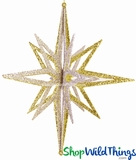 "Star Ornament, 12"" High, Mixed Glitter, 8 Points"