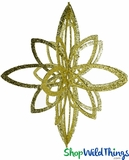 """Star Ornament - Collapsible 3-D Hanging Decoration 16"""" x 14"""", Gold Glitter"""