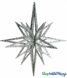 "Star Ornament, 16"" High, Silver Glitter, 8 Points"