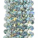 Stretchable Sequin Trim -  Holographic Silver - 30 Feet