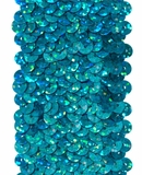 Stretchable Sequin Trim -  Holographic Turquoise - 30 Feet
