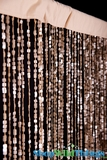 "String Curtain ""Bespangled"" Square Sequins on Rayon (Fire Rated) 36""x88"" Beige"