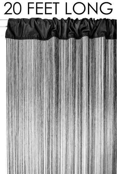 """Coming Soon - String Curtain Black 3 FT x 20FT - Polyester & Cotton """"Nassau"""""""