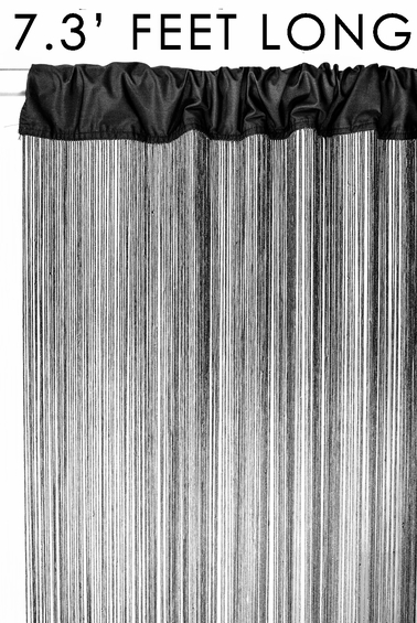 "String Curtain Black 3 FT x 7.3 FT (88"") - Polyester & Cotton ""Nassau"""