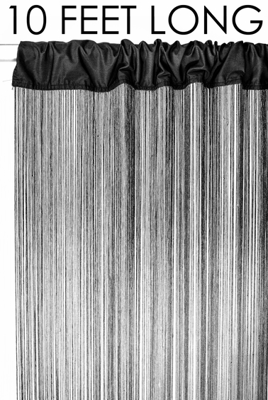 """Coming Soon - String Curtain Black 3 ft x 10 ft - Polyester & Cotton """"Nassau"""""""