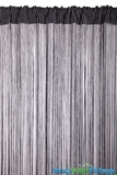 String Curtain Black & White 3 ft x 7.3 ft - Rayon