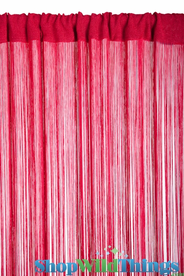 String Curtain Cherry Red 3 ft x 7.3 ft - Rayon