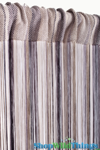 String Curtain Multi Browns 3 ft x 7.3 ft - Rayon