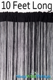 String Curtain Black 3 ft x 10 ft - Fire Treated Rayon