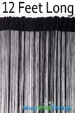 String Curtain Black 3 ft x 12 ft - Fire Treated Rayon