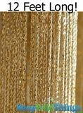 "String Curtain Rayon (Fire Rated) 36""x144"" (12 Feet) Gold W/ Gold Metallic Lurex"