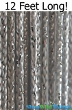 "String Curtain Rayon (Fire Rated) 36""x144"" (12 Feet) Silver W/ Silver Metallic Lurex"