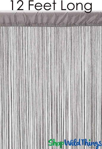 """Coming Soon - String Curtain Silver Gray 3 ft x 12 ft - Polyester & Cotton """"Nassau"""""""