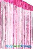 String Curtain - Sparkle Hot Pink w/ Tension Rod