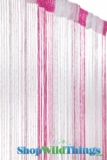String Curtains - Sparkle Pink & White w/ Tension Rod