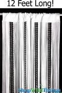 White String & Sparkling Bead Mix Curtain 3' x 12' - Rayon