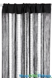 Black String & Sparkling Bead Mix Curtain 3' x 7.3' - Rayon