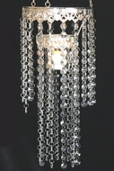 "SALE ""Susanna"" Elegant Crystal & Silver  14"" Hanging Candle Holder"