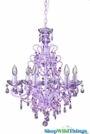 """Sweet Pea"" Purple Decadent Hanging Chandelier 21"" x 21"" x 25"" - 6 Bulbs"