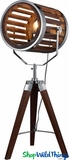 "Table Lamp ""The Director"" Wood Tripod Par Can Light"