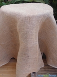 "Table Topper Burlap with Cotton Trim - 60"" - Round"